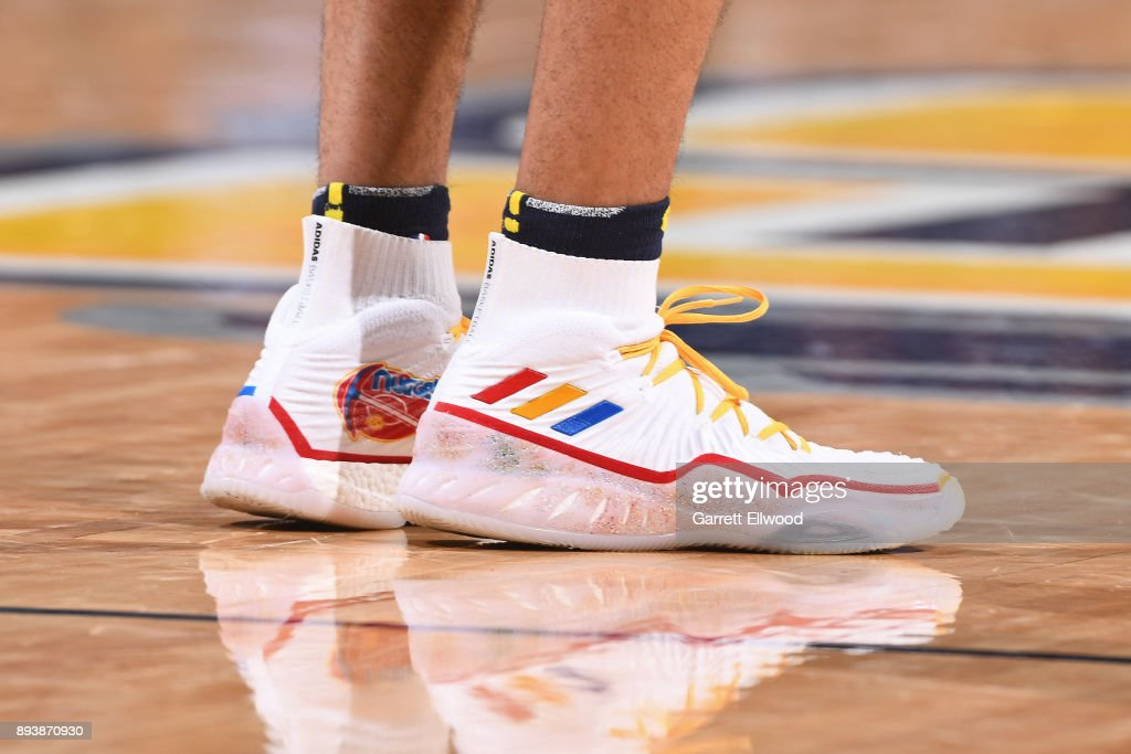 The sneakers of Jamal Murray #27 of the Denver Nuggets during the game against the New Orleans Pelicans on December 15, 2017 at the Pepsi Center in Denver, Colorado.