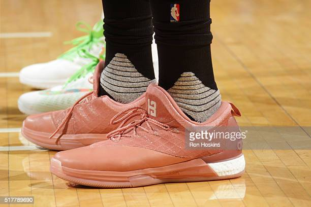 The sneakers of James Harden of the Houston Rockets during the game against the Indiana Pacers on March 27 2016 at Bankers Life Fieldhouse in...