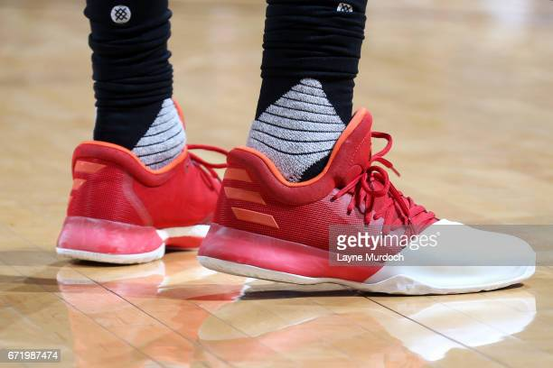 The sneakers of James Harden of the Houston Rockets during the game against the Oklahoma City Thunder in Game Four during the Western Conference...