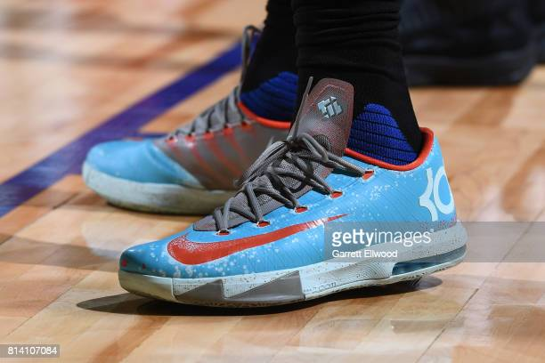 The sneakers of Jamil Wilson of the LA Clippers are seen during the game against the Miami Heat on July 13 2017 at the Thomas Mack Center in Las...