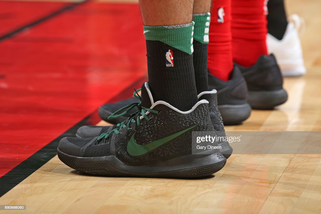The sneakers of Jayson Tatum #0 of the Boston Celtics during the game against the Chicago Bulls on December 11, 2017 at the United Center in Chicago, Illinois.