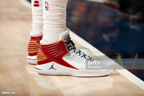 The sneakers of Jeff Green of the Cleveland Cavaliers are seen during the game against the Indiana Pacers on December 8 2017 at Bankers Life...