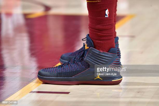 The sneakers of Jeff Green of the Cleveland Cavaliers are seen during the game against the Philadelphia 76ers on December 9 2017 at Quicken Loans...
