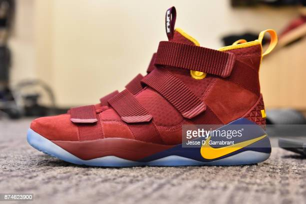 The sneakers of Jeff Green of the Cleveland Cavaliers before the game against the New York Knicks at Madison Square Garden on November 13 2017 in New...
