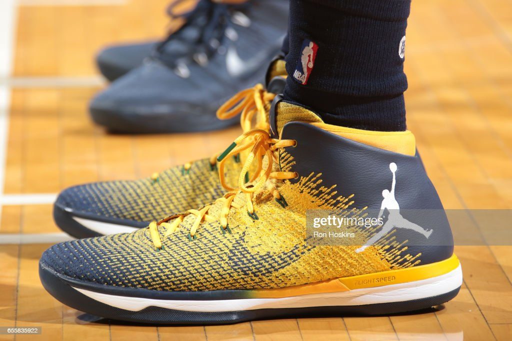 The sneakers of Joe Johnson #6 of the Utah Jazz are seen during the game against the Indiana Pacers on March 20, 2017 at Bankers Life Fieldhouse in Indianapolis, Indiana.
