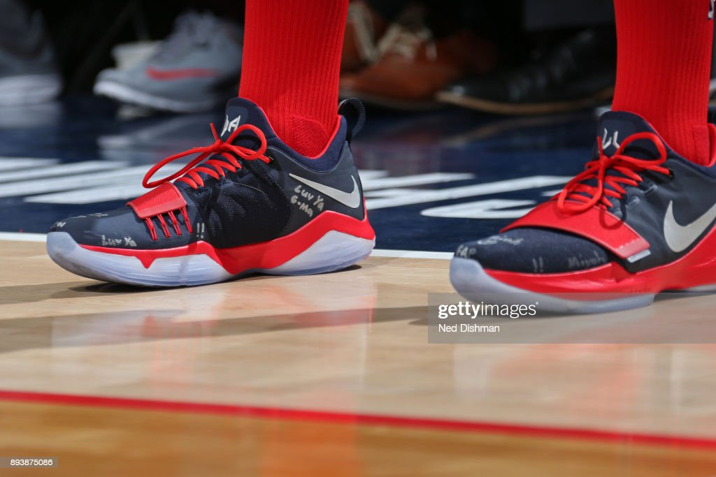 The sneakers of John Wall #2 of the Washington Wizards during the game against the LA Clippers on December 15, 2017 at Capital One Arena in Washington, DC.