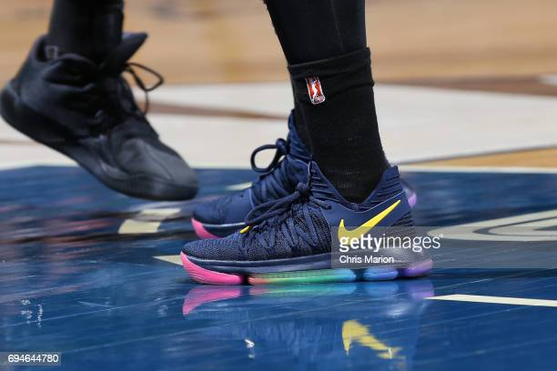 The sneakers of Jonquel Jones of the Connecticut Sun are seen during the game against the Atlanta Dream on June 10 2017 at the Mohegan Sun Arena in...