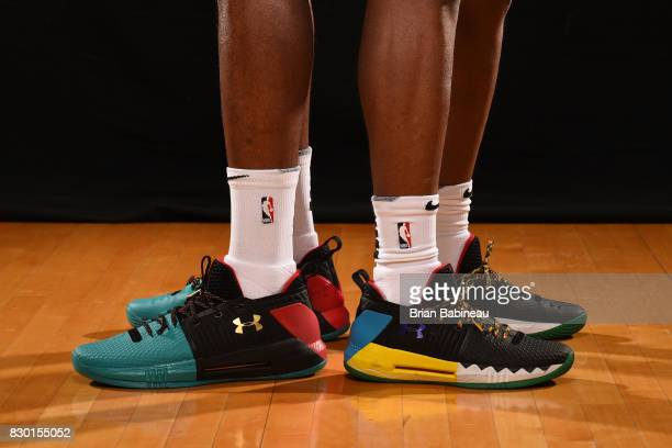 The sneakers of Josh Jackson of the Phoenix Suns and Dennis Smith Jr of the Dallas Mavericks poses for a photo during the 2017 NBA Rookie Photo Shoot...