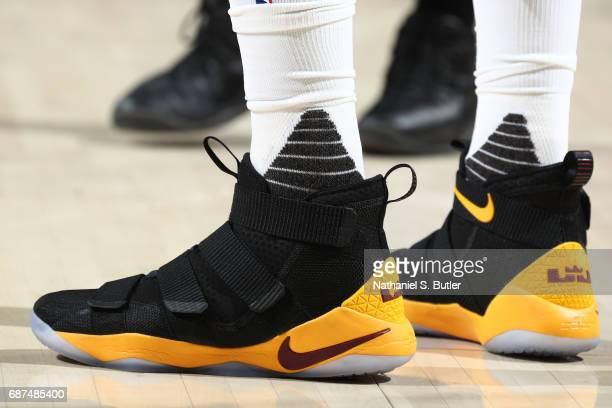 The sneakers of JR Smith of the Cleveland Cavaliers are seen during the game against the Boston Celtics in Game Four of the Eastern Conference Finals...
