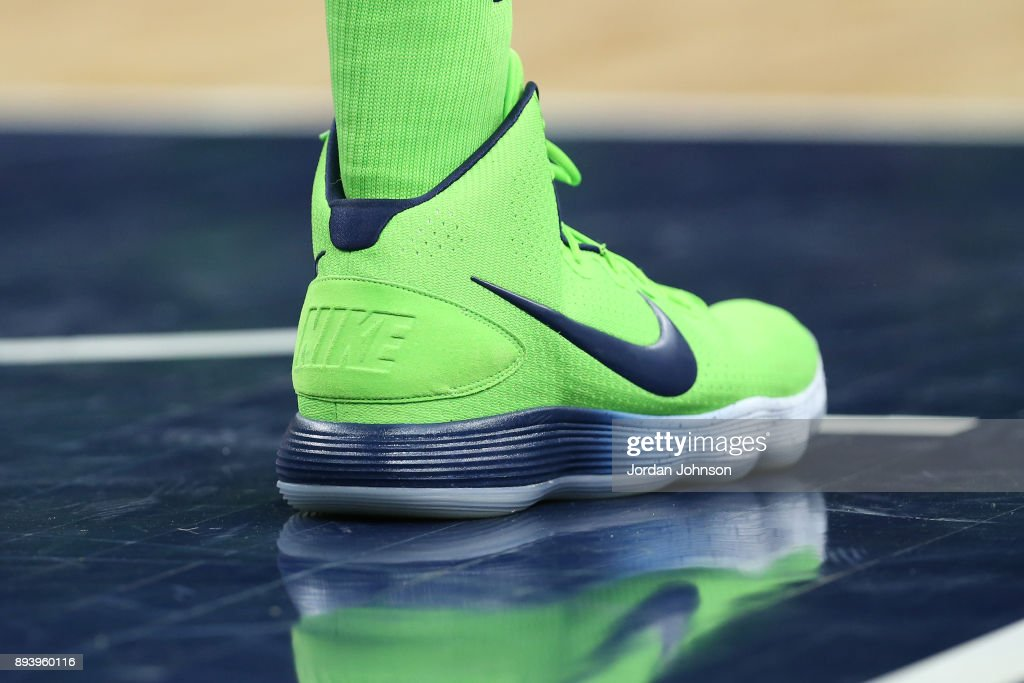 The sneakers of Karl-Anthony Towns #32 of the Minnesota Timberwolves are seen during the game against the Phoenix Suns on December 16, 2017 at Target Center in Minneapolis, Minnesota.