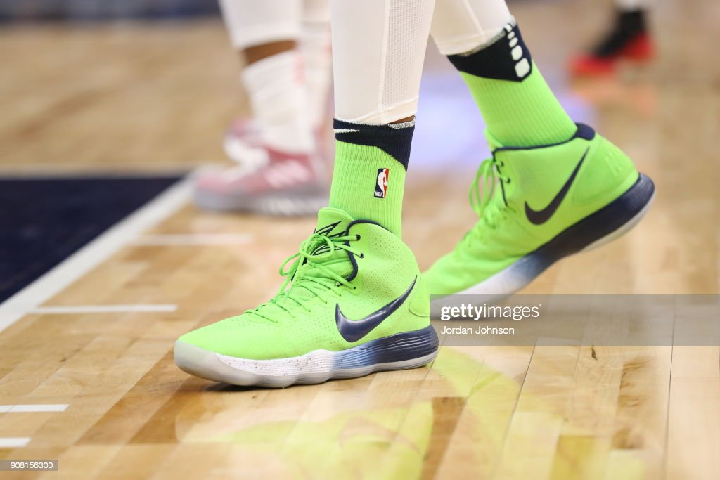 The sneakers of Karl-Anthony Towns #32 of the Minnesota Timberwolves are seen during the game against the Toronto Raptors on January 20, 2018 at Target Center in Minneapolis, Minnesota.