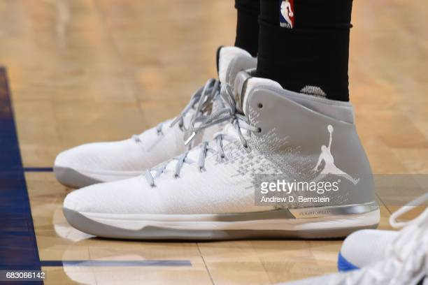 The sneakers of Kawhi Leonard of the San Antonio Spurs are seen during the game against the Golden State Warriors in Game One of the Western...