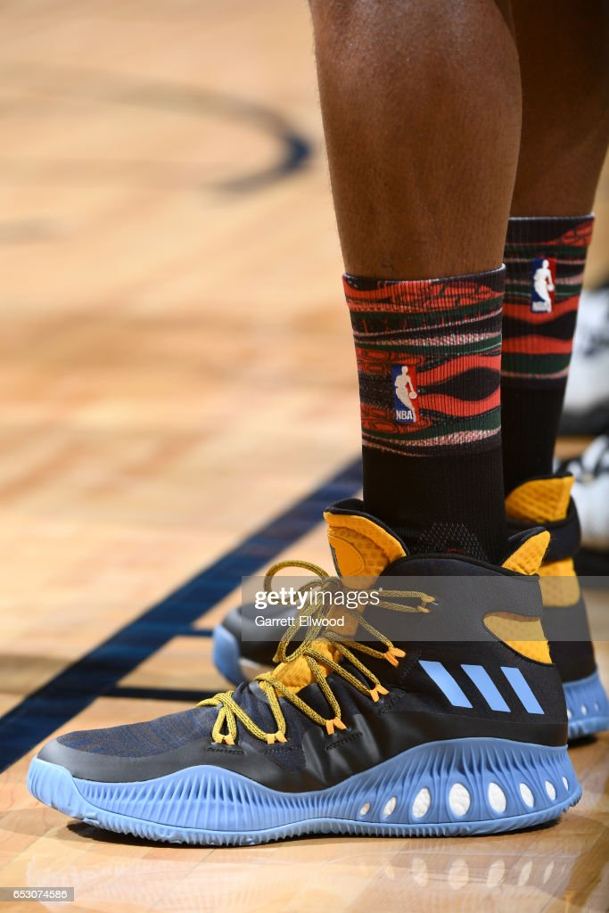 The sneakers of Kenneth Faried #35 of the Denver Nuggets are seen during the game against the Brooklyn Nets on February 24, 2017 at the Pepsi Center in Denver, Colorado.