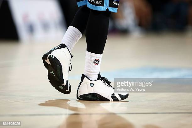 The sneakers of Kevin Dillard of the Breakers are seen during the round 15 NBL match between the New Zealand Breakers and the Sydney Kings at Vector...