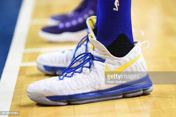 The sneakers of Kevin Durant of the Golden State Warriors are displayed during a preseason game against the Sacramento Kings on October 6 2016 at SAP...
