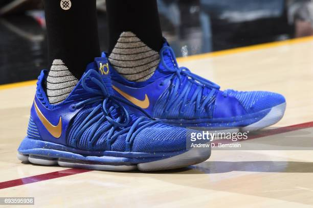 The sneakers of Kevin Durant of the Golden State Warriors are seen in Game Three of the 2017 NBA Finals on June 7 2017 at Quicken Loans Arena in...