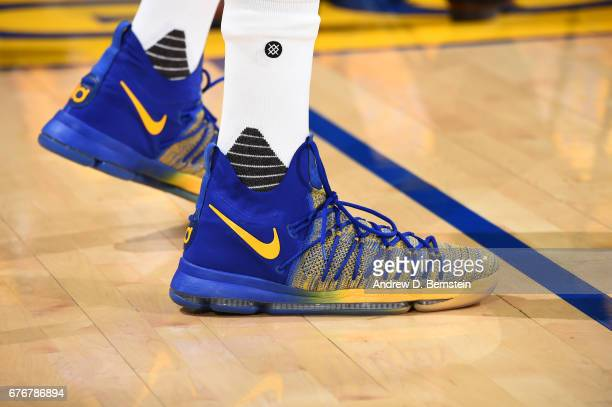 The sneakers of Kevin Durant of the Golden State Warriors are seen before Game One of the Western Conference Semifinals of the 2017 NBA Playoffs on...