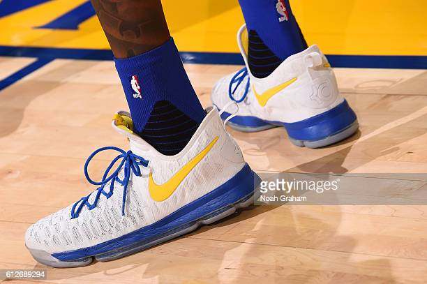 The sneakers of Kevin Durant of the Golden State Warriors before the game against the Los Angeles Clippers during a preseason game on October 4 2016...