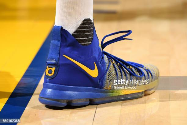 The sneakers of Kevin Durant of the Golden State Warriors during the game against the Portland Trail Blazers during the Western Conference...