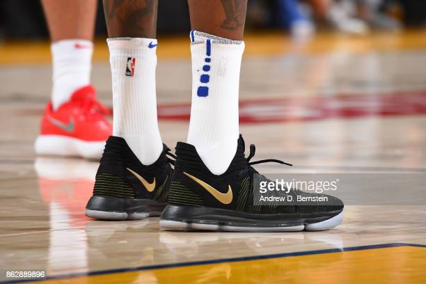 The sneakers of Kevin Durant of the Golden State Warriors during the game against the Houston Rockets on October 17 2017 at ORACLE Arena in Oakland...