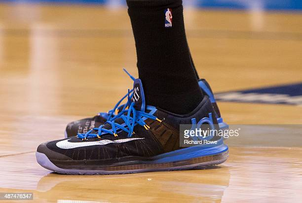 The sneakers of Kevin Durant of the Oklahoma City Thunder during the game against the Memphis Grizzlies in Game 5 of the Western Conference...