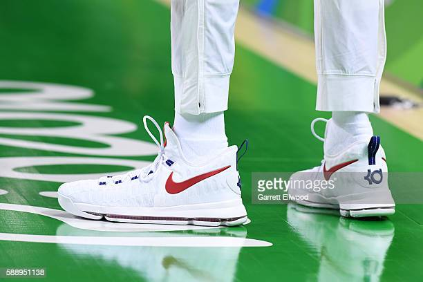 The sneakers of Kevin Durant of the USA Basketball Men's National Team before the game against Serbia on Day 7 of the Rio 2016 Olympic Games at...