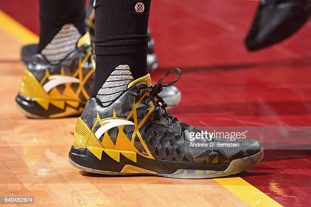 The sneakers of Klay Thompson of the Golden State Warriors during Game Four of the 2016 NBA Finals against the Cleveland Cavaliers at The Quicken...