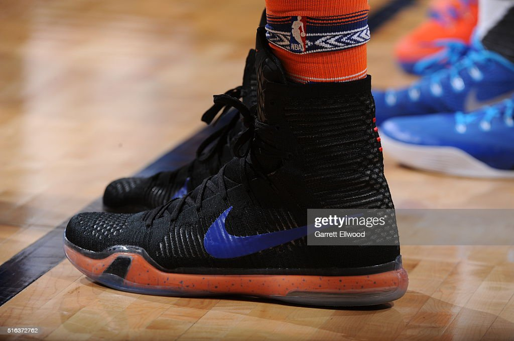 The sneakers of Kristaps Porzingis #6 of the New York Knicks during the game against the Denver Nuggets on March 8, 2016 at the Pepsi Center in Denver, Colorado.