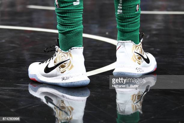 The sneakers of Kyrie Irving of the Boston Celtics are seen during the game against the Brooklyn Nets on November 14 2017 at Barclays Center in...