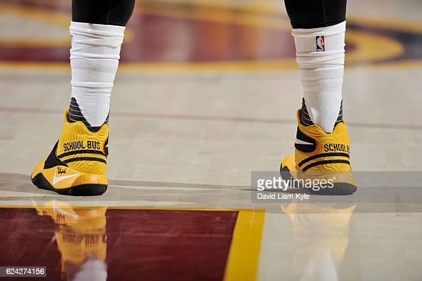 The sneakers of Kyrie Irving of the Cleveland Cavaliers are seen during the game against the Detroit Pistons on November 18 2016 at Quicken Loans...