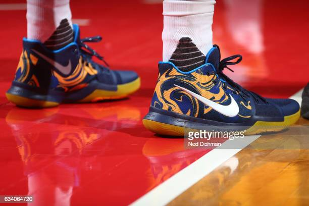 The sneakers of Kyrie Irving of the Cleveland Cavaliers are seen during the game against the Washington Wizards on February 6 2017 at Verizon Center...