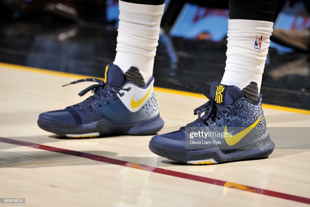 The sneakers of Kyrie Irving #2 of the Cleveland Cavaliers are seen during the game against the Chicago Bulls on February 25, 2017 at Quicken Loans Arena in Cleveland, Ohio.