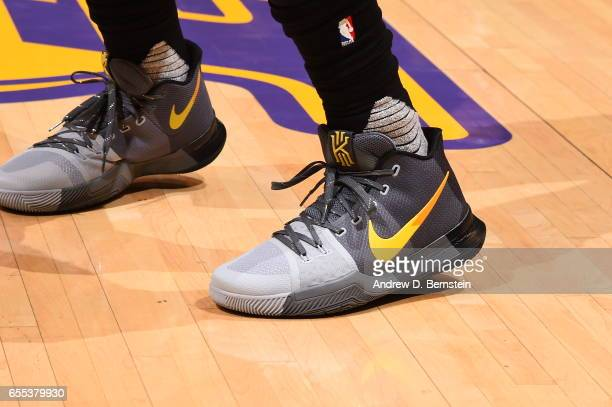 The sneakers of Kyrie Irving of the Cleveland Cavaliers are seen during the game against the Cleveland Cavaliers on March 19 2017 at STAPLES Center...