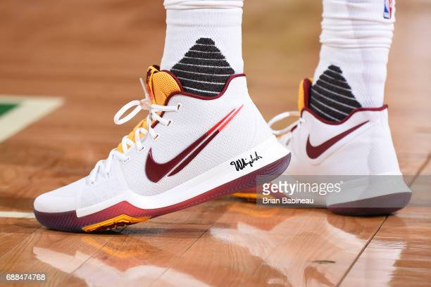 The sneakers of Kyrie Irving of the Cleveland Cavaliers are seen during the game against the Boston Celtics in Game Five of the Eastern Conference...