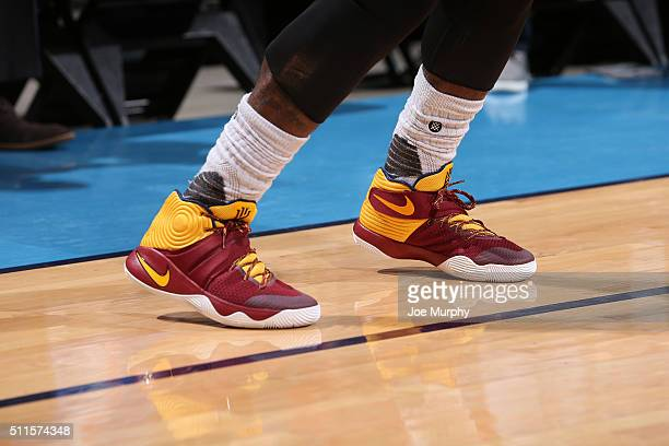 The sneakers of Kyrie Irving of the Cleveland Cavaliers before the game against the Oklahoma City Thunder on February 21 2016 at Chesapeake Energy...