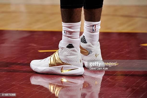 The sneakers of Kyrie Irving of the Cleveland Cavaliers during the game against the Denver Nuggets on March 21 2016 at Quicken Loans Arena in...