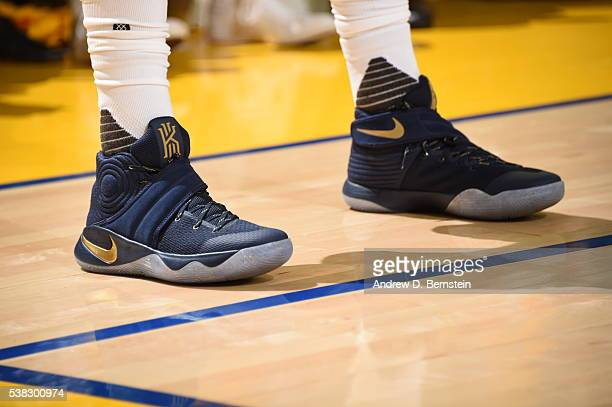 The sneakers of Kyrie Irving of the Cleveland Cavaliers during the game against the Golden State Warriors in Game Two of the 2016 NBA Finals on June...