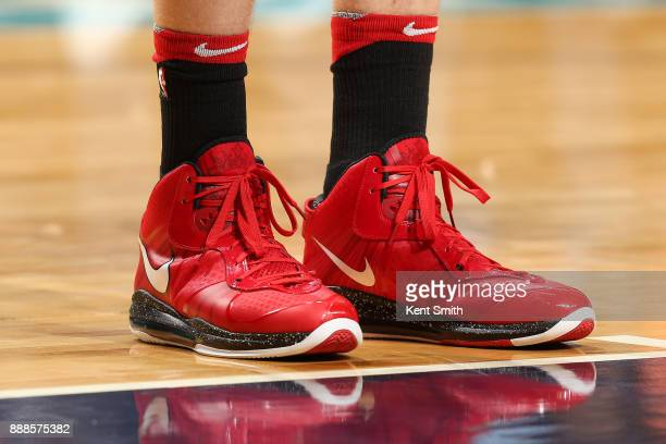 The sneakers of Lauri Markkanen of the Chicago Bulls are seen during the game against the Charlotte Hornets on December 8 2017 at Spectrum Center in...