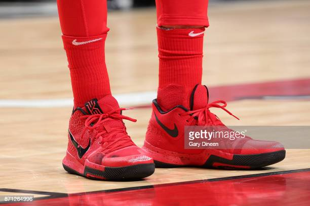 The sneakers of Lauri Markkanen of the Chicago Bulls during the game against the New Orleans Pelicans on November 4 2017 at the United Center in...