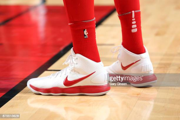 The sneakers of Lauri Markkanen of the Chicago Bulls during the game against the Charlotte Hornets on November 17 2017 at the United Center in...