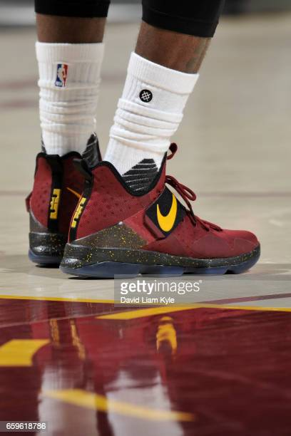 The sneakers of LeBron James of the Cleveland Cavaliers are seen during a game against the Washington Wizards on March 25 2017 at Quicken Loans Arena...