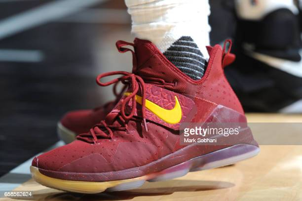 The sneakers of LeBron James of the Cleveland Cavaliers are seen during the game against the San Antonio Spurs on March 27 2017 at the ATT Center in...