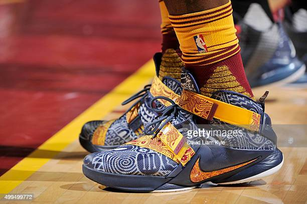 The sneakers of LeBron James of the Cleveland Cavaliers during the game against the Washington Wizards on December 1 2015 at Quicken Loans Arena in...