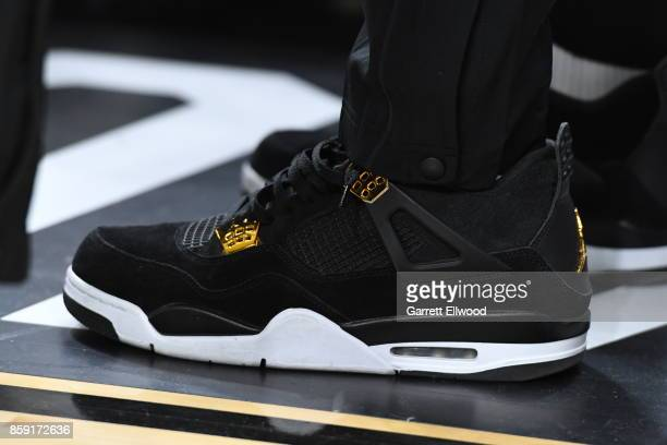 The sneakers of Lonzo Ball of the Los Angeles Lakers are seen during a preseason game against the Sacramento Kings on October 8 2017 at TMobile Arena...