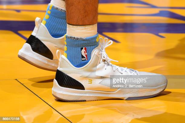 The sneakers of Lonzo Ball of the Los Angeles Lakers are seen during the game against the Washington Wizards on October 25 2017 at STAPLES Center in...