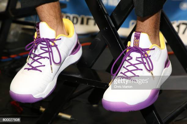 The sneakers of Lonzo Ball the number two pick selected by the Los Angeles Lakers at the 2017 NBA Draft on June 22 2017 at Barclays Center in...