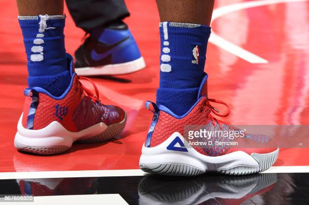 The sneakers of Lou Williams of the LA Clippers are seen during the game against the Detroit Pistons on October 28 2017 at STAPLES Center in Los...