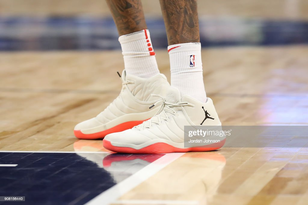 The sneakers of Lucas Nogueira #92 of the Toronto Raptors are seen during the game against the Minnesota Timberwolves on January 20, 2018 at Target Center in Minneapolis, Minnesota.