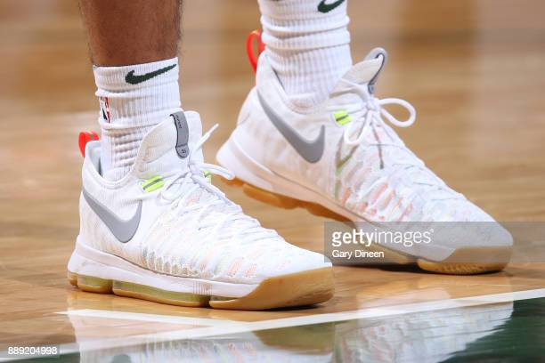 The sneakers of Malcolm Brogdon of the Milwaukee Bucks are seen during the game against the Utah Jazz on December 9 2017 at the BMO Harris Bradley...