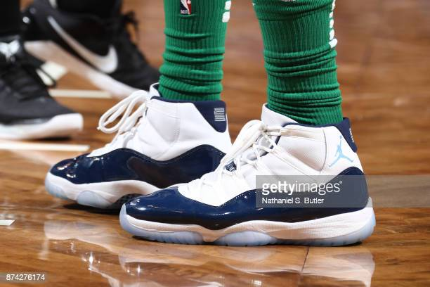 The sneakers of Marcus Morris of the Boston Celtics are seen during the game against the Brooklyn Nets on November 14 2017 at Barclays Center in...